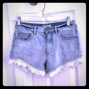 free people lace denim jean shorts